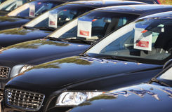 Cars for sale. Row of cars for sale Stock Photo
