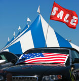 Cars sale. With american flag Stock Images