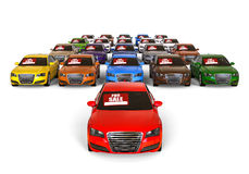 CArs for sale. 3D render image representing a park with cars for sale Royalty Free Stock Image