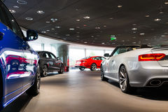 Cars for sale. Cars in showroom for sale Stock Photography