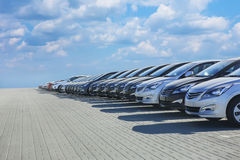 Cars For Sale Stock Lot Row Royalty Free Stock Photography