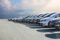 Cars For Sale Stock Lot Row. Royalty Free Stock Photo