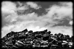 Cars on a scrap heap stock image