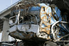 Cars for scrap. Stacked smashed cars for scrap, colorful, old and new Royalty Free Stock Photo