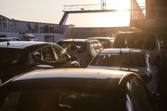 cars on a sea freight ferry Stock Images