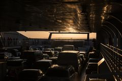 cars on a sea freight ferry Royalty Free Stock Photos