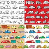 Cars seamless. Set of cars doodles seamless Stock Photography