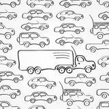Cars seamless pattern. Simple seamless pattern made of gray abstract sketch cars vector illustration
