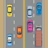 Cars seamless vector background traffic and road. Vector flat illustration vector illustration