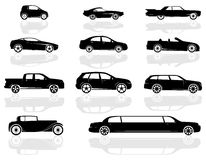 Cars Set. A set of various cars, from compact to stretch limousine, and even an old style car Royalty Free Stock Photos