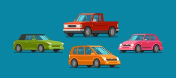 Cars, set of icons. Vehicle, automobile, garage, transport, car service concept. Cartoon vector illustration. Cars, set of icons. Vehicle, automobile, garage car Stock Photo