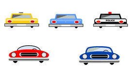Cars Set. With passenger vehicles, taxi cab and police cruiser Stock Illustration