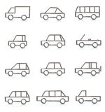 Cars. Set of silver cars icons Stock Image