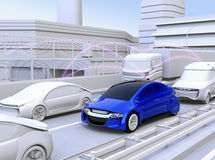 Cars sharing traffic information by connected car function. 3D rendering image royalty free illustration