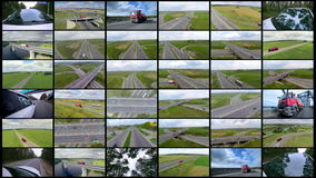 Cars shipping, delivering retail goods. Delivery commercial business concept. Splitscreen montage. stock video