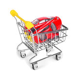 Cars are in the shopping cart Royalty Free Stock Images