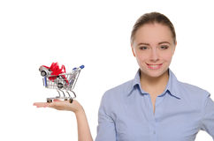 Cars in shopping trolley on the women palm Stock Image