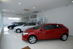 Cars in showroom Royalty Free Stock Image