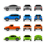 Cars Side Front And Back Icons Set Stock Photography