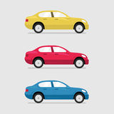 Cars side view. Vector flat illustration set Royalty Free Stock Images