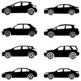 Cars silhouette set Stock Photography