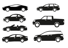 Cars. Silhouette cars on a white background Royalty Free Stock Photos