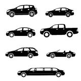 Cars silhouettes vector collection Stock Images