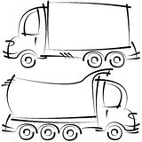 Cars sketches isolated on white background. Truck cars sketches isolated on white background Royalty Free Stock Images