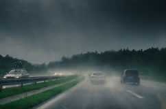 Cars on a slippery road Royalty Free Stock Image