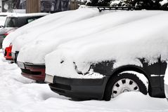 Cars at snow Stock Image