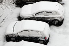 Cars in the snow Royalty Free Stock Photography