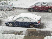 Cars in the snow Stock Photos