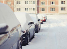 Cars in the snow, cold winter Royalty Free Stock Photo