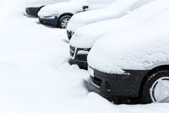 Cars after snowfall Stock Photography