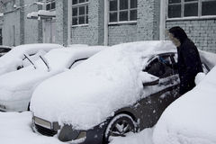 Cars after a snowfall Royalty Free Stock Photography