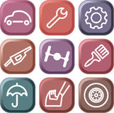 Cars and spare parts. Cars spare parts and service icons Stock Photos