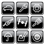 Cars and spare parts. Cars spare parts and service icons Royalty Free Stock Photography