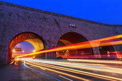 Cars speed line and the ancient city wall. This is the ancient Chinese in Nanjing city wall and the car's speed line Stock Image