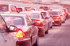 Cars stand before the trafficlight. Royalty Free Stock Photography