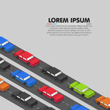 Cars standing in a traffic jam. Vector Royalty Free Stock Images