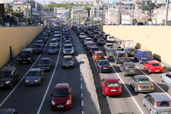 Cars stands in traffic jam on the city center Royalty Free Stock Image