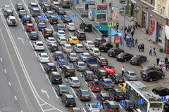 Cars stands in traffic jam on Tverskaya st. stock images