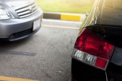 Cars stop in parking lot. With yellow Road Marking on the road Stock Photography