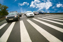Cars stopped on pedestrian crossing Royalty Free Stock Photo