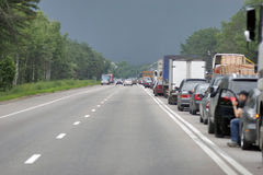 Cars stopping. Many cars stopping in one directions. Europe road Stock Photos
