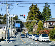 Cars stopping on street in Saitama, Japan Stock Images