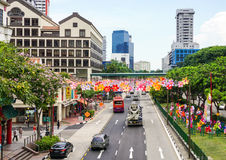 Cars on street in Chinatown, Singapore Royalty Free Stock Images