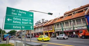 Cars on street in Geyland, Singapore Stock Photo