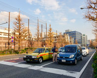 Cars on street in Nagano, Japan Royalty Free Stock Photos