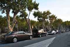 Cars on the street in Saint-Tropez. Cars parked on the street in Saint-Tropez Stock Photo